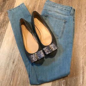 Kate Spade Wool Glitter Bow Flats